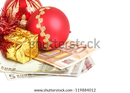 money concept with euro banknotes for christmas gifts on white background - stock photo