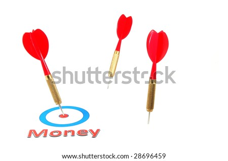 money concept with successful dart arrow in the target