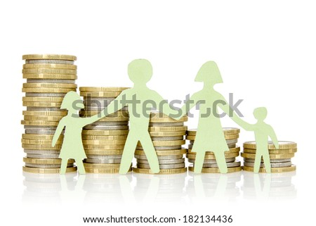 Money concepts. Paper family and stacks of coins on white background - stock photo