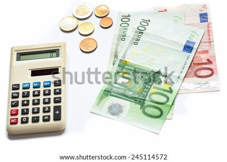 Money counting calculator and banknotes isolated on white