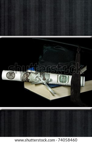 money diploma with graduation cap with striped border