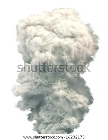 Money disappearing in a puff of smoke against a white background