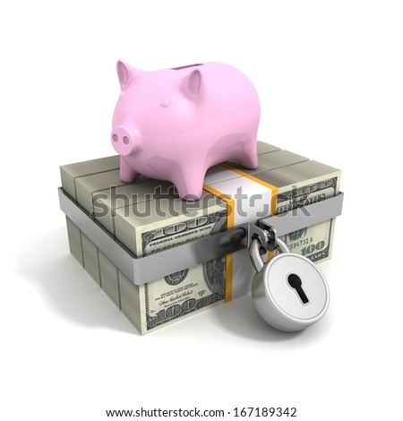 money dollar currency packs security padlock and piggy bank - stock photo