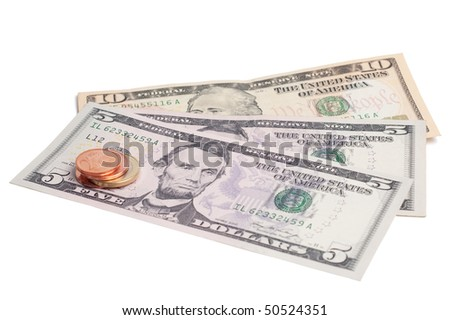 Money dollars and coin euro isolated on a white background.