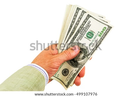 money (dollars) in hand on white background