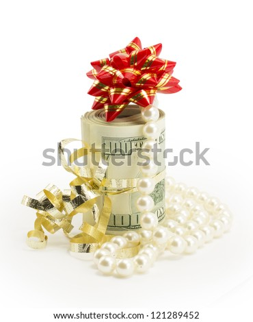 money, dollars isolated on white background - stock photo