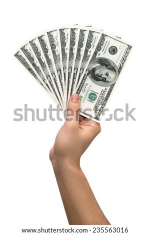 Money. Dollars. Money in hand - stock photo