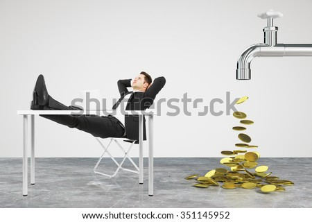 Money dripping concept with faucet and businessman resting on a chair - stock photo