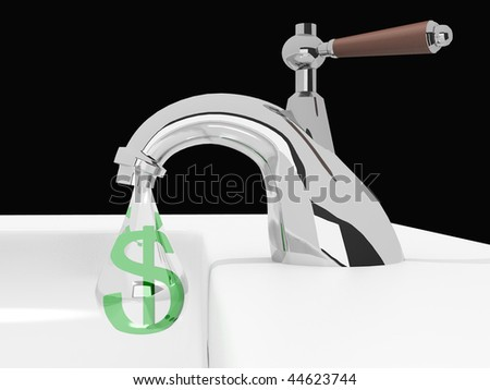 Money drips from the crane 3d image - stock photo