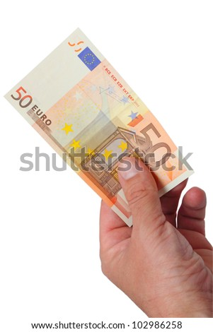 Money 50 Euro banknote in her hand. The image is isolated on a white background.