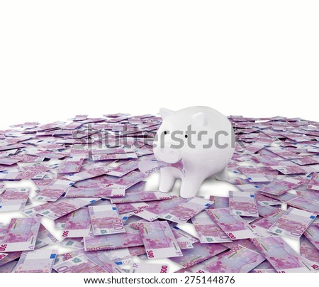 Money euro business money box pig credit bank savings - stock photo