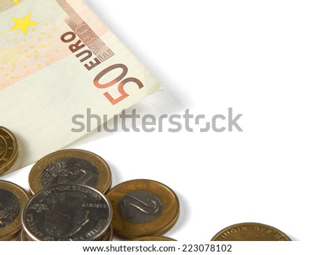 Money: euro coins and bills close up isolated on white background. - stock photo