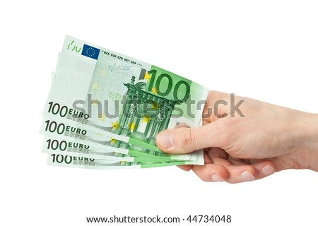 Money (Euro) in a hand isolated on white - stock photo