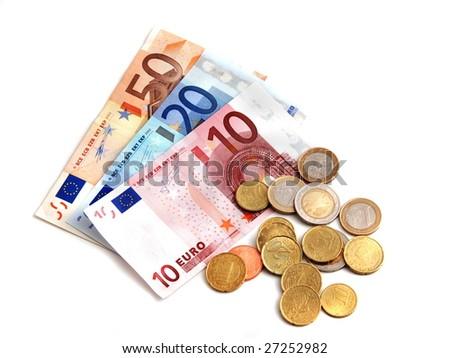 Money.  Euro money coins  banknotes. Euro money. Euro money on white background. Euro money isolated on white. Euro money.  - stock photo