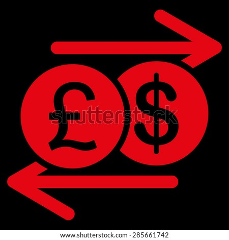 Money Exchange icon from Business Bicolor Set. This flat glyph symbol uses red color, rounded angles, and isolated on a black background.