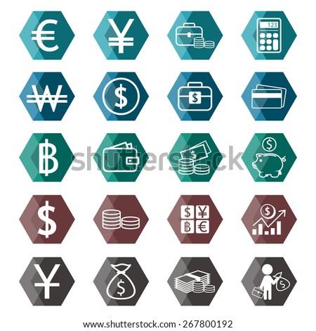 Money exchange icons set - stock photo