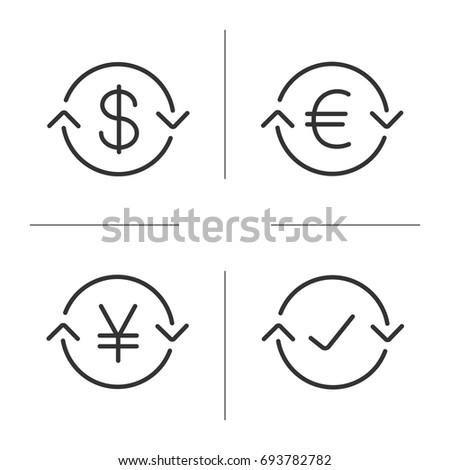 Money Exchange Linear Icons Set Us Stock Illustration 693782782