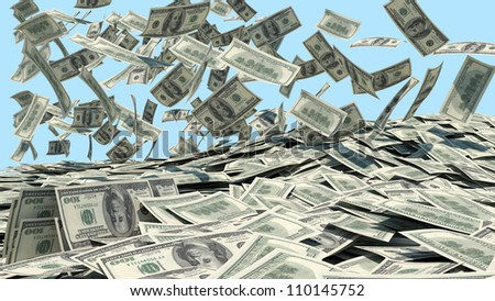 Money falling from the sky in a heap. blue background - stock photo