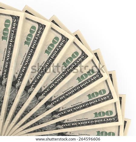 Money fan. One hundred dollars. 3D illustration. - stock photo