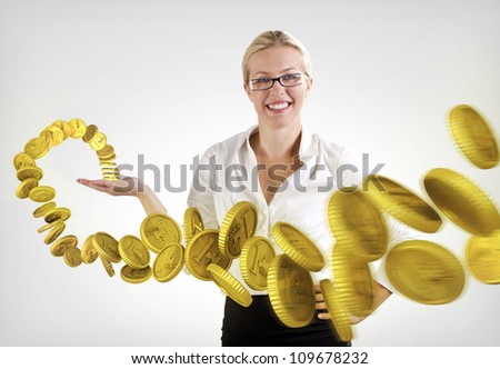 Money flying around a woman - stock photo