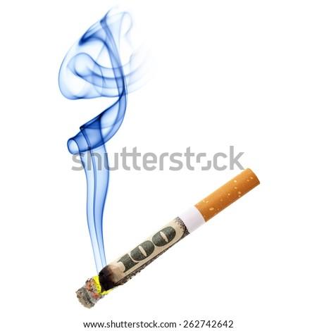 Money for smoking - cigarette stub isolated over white background - stock photo