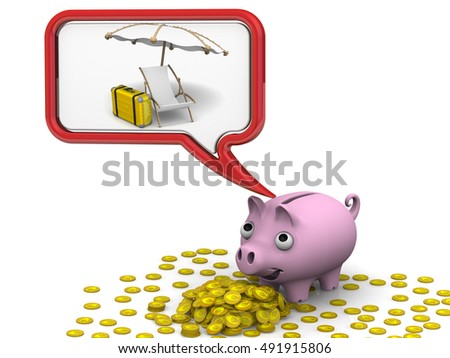 Money for the vacation. Pig piggy bank dreaming about vacation. Gold coins with the symbol of the European currency. Isolated. 3D Illustration