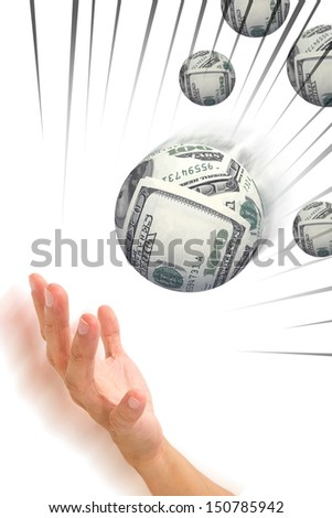 money gather to sphere shape in hand,dollars - stock photo
