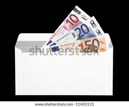 Money Gift, Envelope With A Ten, Twenty And Fifty Euro Note