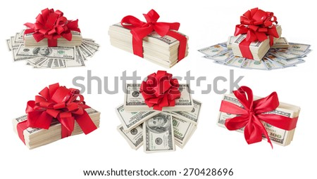 Money gift. Money bonus. Stack with money with red bow isolated on white background with sample text. Set - stock photo