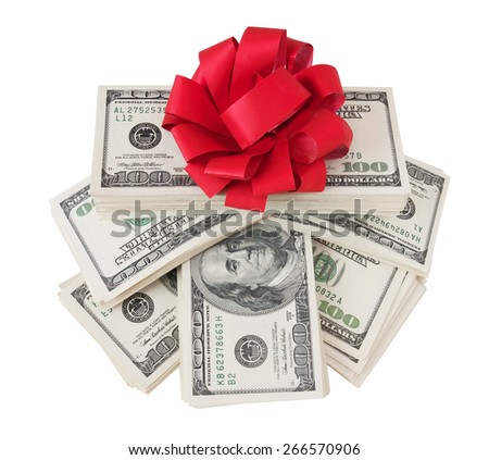 Money gift. Money bonus. Stack with money with red bow isolated on white background with sample text - stock photo