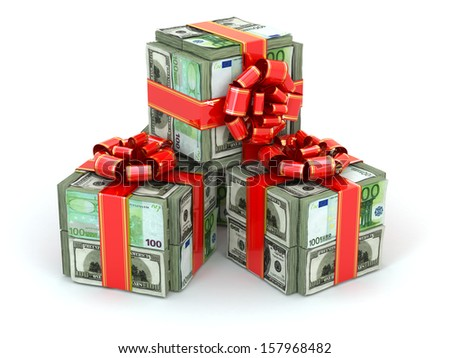 Money gift. Packs of dollars and euro and red ribbon. 3d