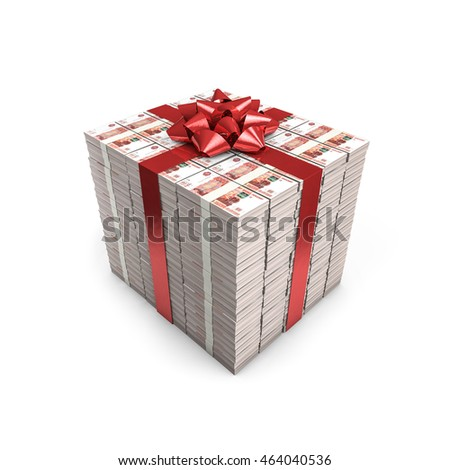 Money gift Russian rubles / 3D illustration of stacks of Russian five thousand ruble notes tied with ribbon