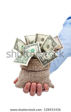 Money given to you as a gift or grant - dollars in moneybag - stock photo