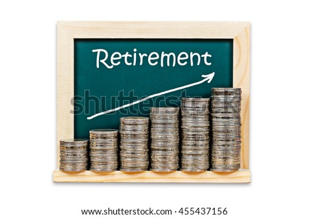 Money graph on chalkboard with retirement plan isolated on white background, Saved cliping path. - stock photo