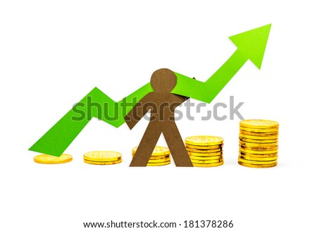 Money Graph pointing upwards with person supporting it - stock photo