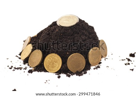 Money growth.Coins growing from soil isolated - stock photo