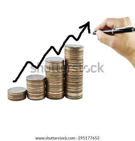 Money growth concept in business, Coins on white background.