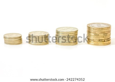 Money growth concept, where small coins in a pile gets bigger and higher for each pile. - stock photo