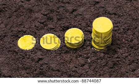 Money growth. Golden coins growing from soil. Financial metaphor. - stock photo