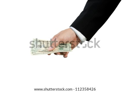 Money,Hand holding US dollars isolated on white background - stock photo