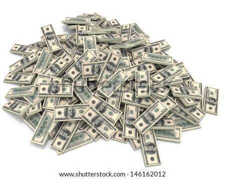 Money heap on white background. One hundred dollars. 3D illustration. - stock photo