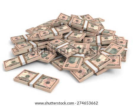 Money heap on white background. Ten dollars. 3D illustration.