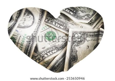 Money heart - stock photo