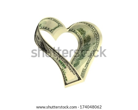 Money Heart. A Pair Of United States One Hundred Dollar Notes ($100) Joined To Form A Heart Shape Over White Background. - stock photo