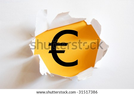 money hole in blank paper with yellow background
