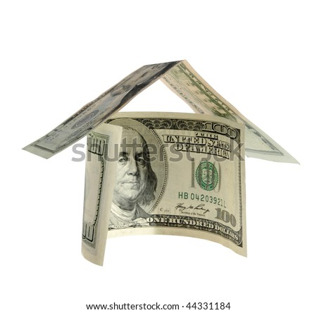 Money house on the white background
