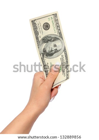 money. hundred dollars bill in hand isolated on white
