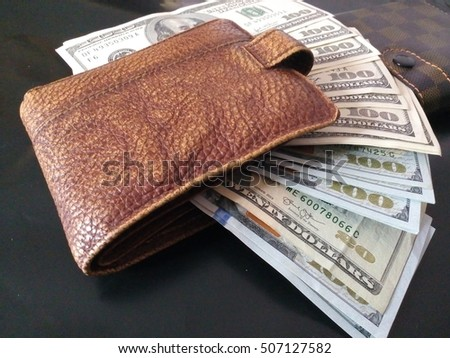 Money, hundred dollars in purse