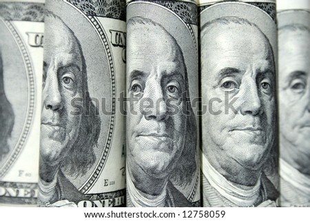 Money, hundred dollars.  Portraits of the president