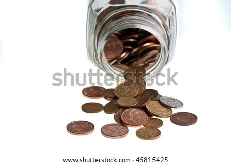 money in a bottle isolated on white - stock photo